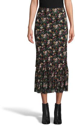 Nicole Miller Printed Mesh Pull-On Midi Skirt