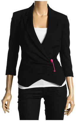 Alexander McQueen McQ Gabardine Blazer With Side Pin Closure (Black)
