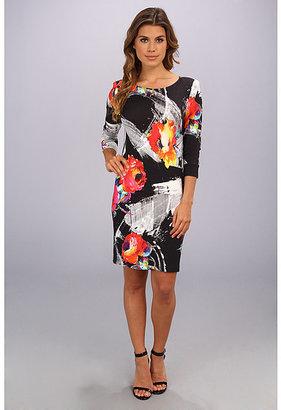 ABS by Allen Schwartz Scratch Floral T-Shirt Dress