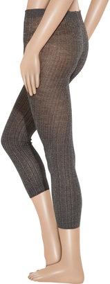 Miu Miu Metallic ribbed wool-blend leggings
