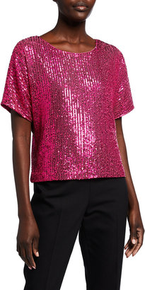 Milly Sequin Mini Striped V-Back Top