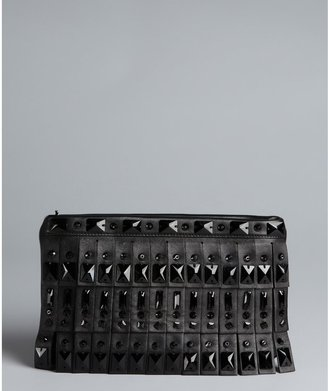 Prada Black Lambskin Fringe And Crystal Clutch