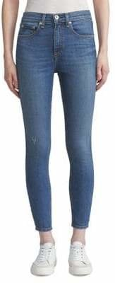 Rag & Bone Distressed High-Rise Skinny Ankle Jeans
