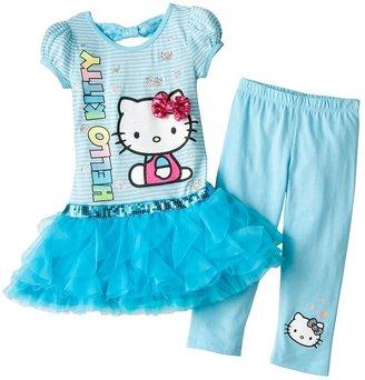 Hello Kitty striped tutu tunic and capri leggings set - girls 4-7