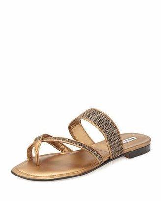 Manolo Blahnik Susametal Woven Thong Sandal, Copper Bronze $645 thestylecure.com