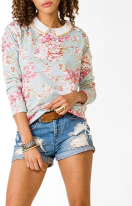 Forever 21 Collared Floral Print Pullover