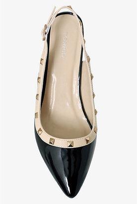 Torrid Black & Nude Studded Sling Back Kitten Heels (Medium Width)