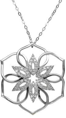 Lord & Taylor 14Kt White Gold and Diamond Pendant Necklace