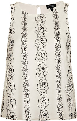 Topshop Flower Embroidered Shell Top