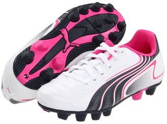 Puma Kids - V6.11 R HG Jr (Little Kid/Big Kid) (White/New Navy/Fluorescent Pink) - Footwear