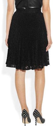 Valentino Plissé cotton-blend lace skirt