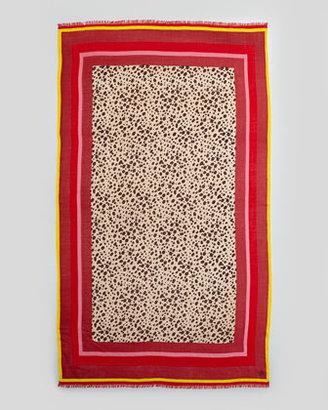 Tory Burch Multicolor-Border Cheetah Scarf, Carmine