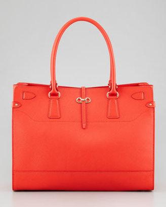 Salvatore Ferragamo Briana Large Leather Tote Bag, Coral