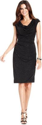 Ronni Nicole Dress, Cap-Sleeve Glitter Cowl-Neck Sheath