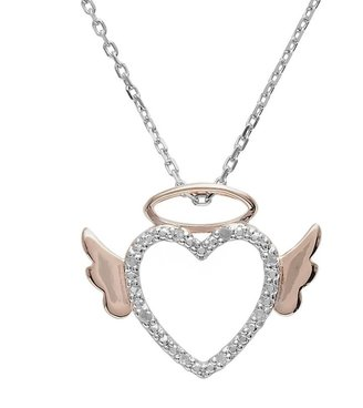 Angel Heart 18k Rose Gold Over Silver & Sterling Silver Diamond Accent Pendant