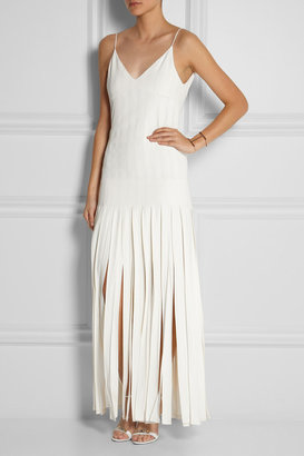 Kate Moss for Topshop Fringed stretch-crepe maxi dress