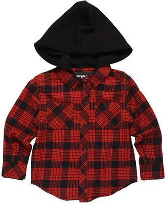 Fox Radcliff L/S Hoodie Flannel (Little Kids) (Red) - Apparel