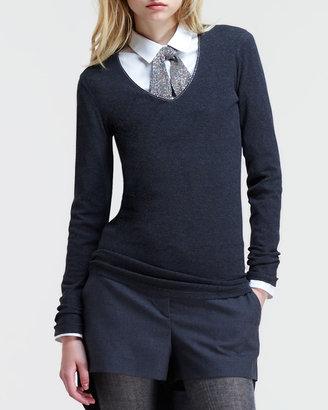 Brunello Cucinelli Long-Sleeve Monili-Neckline T-Shirt