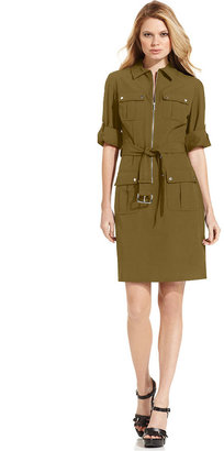 MICHAEL Michael Kors Rolled Sleeve Zip-Front Dress