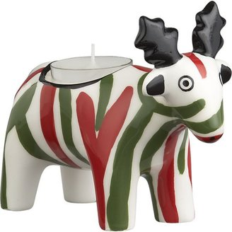 Crate & Barrel Striped Reindeer Candleholder
