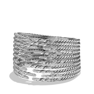 David Yurman Willow Open Ten-Row Bracelet with Diamonds