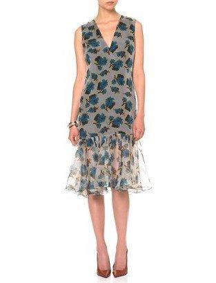Peter Som Blue Acid Floral Ruffle Dress