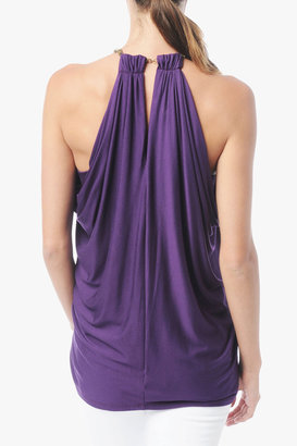 7 For All Mankind Embellished Strap Drapey Tank In Deep Plum