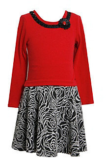 Bonnie Jean Girls' 7-16 Red Long Sleeve Jacquard Knit Floral Dress