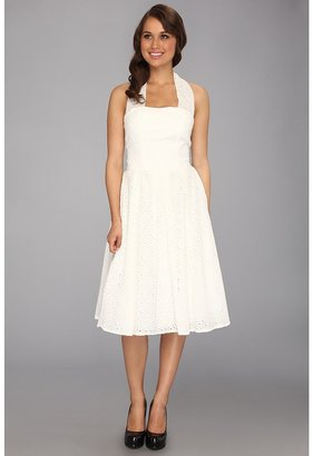 Unique Vintage Eyelet Flirty Cotton Swing Dress