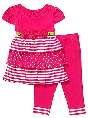Sweet Heart Rose Sweetheart Rose Infant Stripe/Dot Tiered Dress and Legging Set