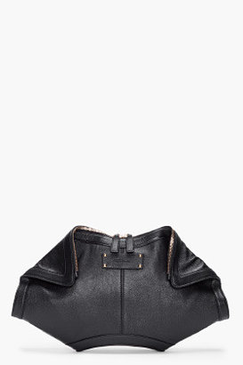 Alexander McQueen Oversize Black Leather De Manta Clutch