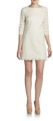 Shoshanna Floral Lace Boatneck Dress