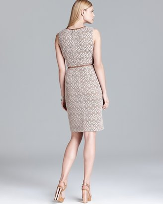 Anne Klein Crochet Belted Sheath Dress - Sleeveless