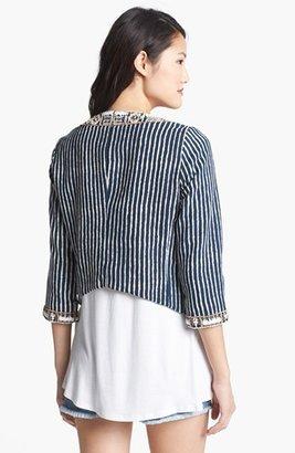 Lucky Brand 'Irving & Fine' Embellished Stripe Jacket Large