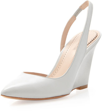 Pour La Victoire Maira Pointed-Toe Slingback Wedge, Light Gray