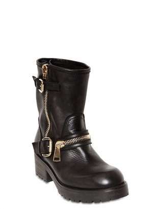 Strategia 50mm Zipped Leather Biker Boots