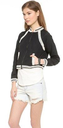 Free People Crochet Inset Baseball Jacket