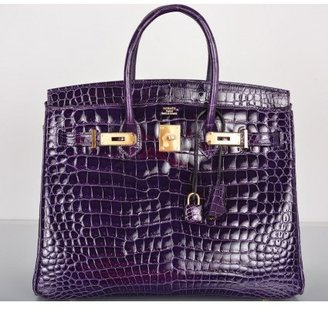 Hermes pristine (PR Amethyst Porosus Crocodile 35cm Birkin Bag with Gold Hardware