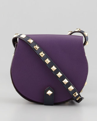 Rebecca Minkoff Skylar Bicolor Studded Mini Messenger Bag, Plum/Midnight (Stylist Pick!)