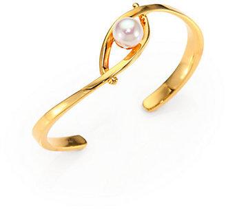 Majorica 10MM White Pearl Cuff Bracelet