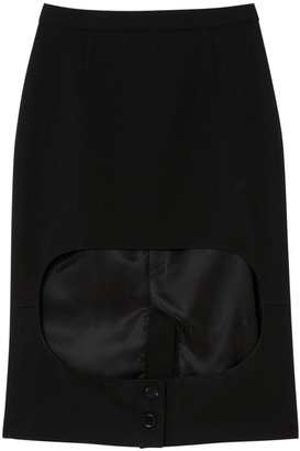 Burberry Cotton Jersey Step-through Pencil Skirt