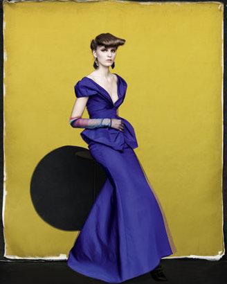 Oscar de la Renta Deep V-Neck Silk Faille Gown, Mulberry