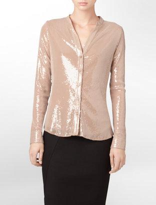 Calvin Klein Shiny Sequin Button Front Blouse