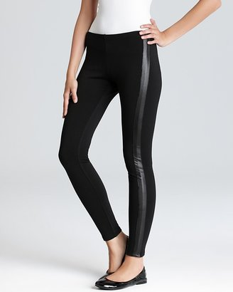 Aqua Leggings - Faux Leather Tuxedo Ponte