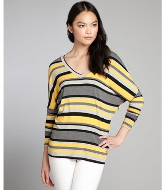 Red Haute mustard and grey striped jersey knit button back top