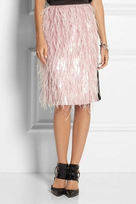 Erdem Aysha feathered organza and silk skirt