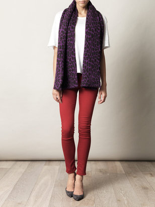 Christopher Kane Double-cashmere leopard-print scarf