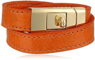 "CC Skye Orange Portico Leather Double Wrap Bracelet, 8.25"""