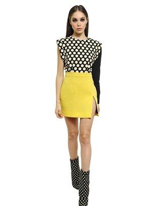Ungaro Printed Cady & Wool Crepe Mini Dress