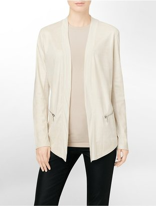Calvin Klein Faux Leather Accent Open Front Cardigan